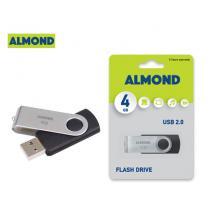 ALMOND FLASH DRIVE USB 4GB TWISTER ΜΑΥΡΟ