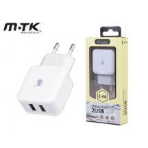 MTK ΦΟΡΤΙΣΤΗΣ ΧΩΡΙΣ ΚΑΛΩΔΙΟ 2.4Α 2 USB ΛΕΥΚΟ