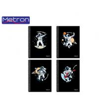 METRON ΤΕΤΡΑΔΙΟ 17x25cm 90Φ. 3Θ. 2 ΣΠΙΡΑΛ 10Τ. UV SPACE
