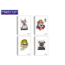 METRON ΤΕΤΡΑΔΙΟ Α4 30Φ. 1Θ. 2 ΣΠΙΡΑΛ 10Τ. UV COOL DOGS