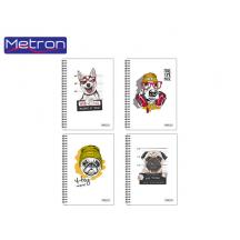 METRON ΤΕΤΡΑΔΙΟ Α4 120Φ. 4Θ. 2 ΣΠΙΡΑΛ 8Τ. UV COOL DOGS